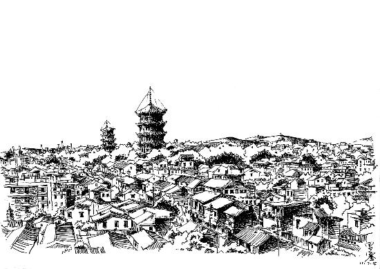 钢笔画《泉城双塔》