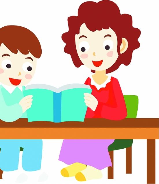 辅导儿童作业矢量图