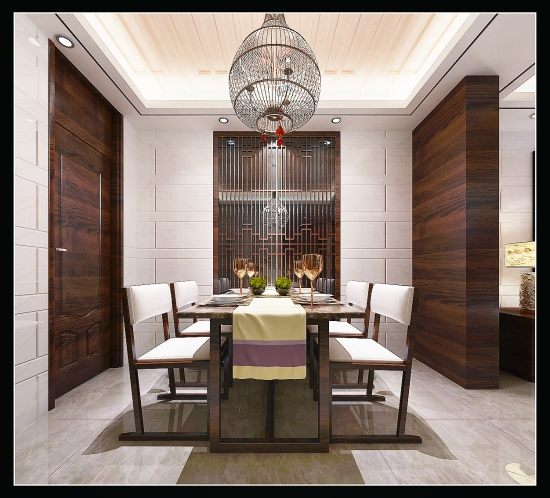 卧室主要采用线条的勾勒与暖色材料搭配显得大方优雅