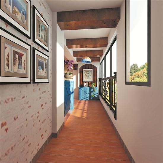 设计师对餐厅进行了一个抬高,酒柜利用红砖扫色体现原始自然风.