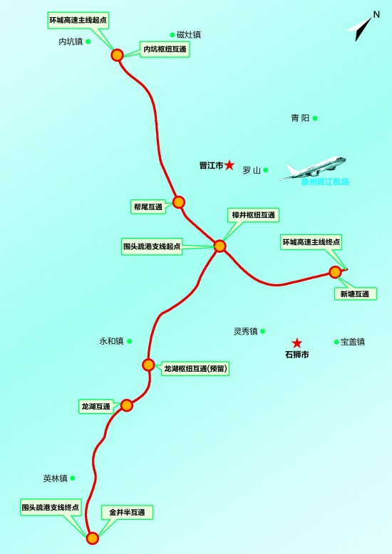 泉州市环城高速公路 晋江至石狮段示意图