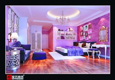 在淡紫色的高档; 粉色墙漆卧室效果图;